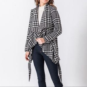 Houndstooth belted jacket. New with tags.
